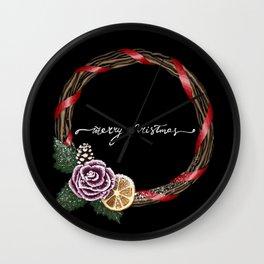 Black Merry Christmas Wreath Wall Clock