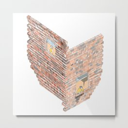 2 dimensions of separation - brick neighbour lovers Metal Print