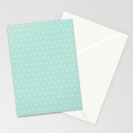 Aqua blue and White cross sign pattern Stationery Cards