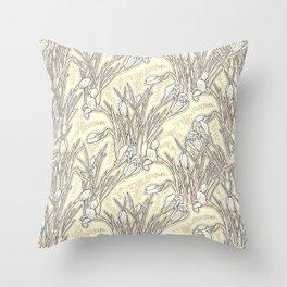 White Crocuses, Garden Flowers Botanical Floral Pattern, Cream Vanilla Throw Pillow
