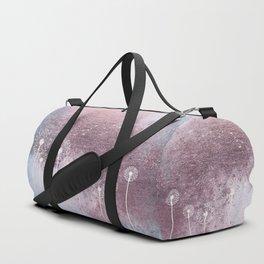 Dandelion Floral Drawing on Rose Gold Metal Duffle Bag