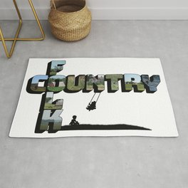 Country Folk Big Letter Graphic Art Rug