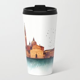 Soft watercolor sunset with views of San Giorgio island, Venice, Italy. Travel Mug