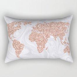 Rose Gold Glitter World Map on White Marble Rectangular Pillow