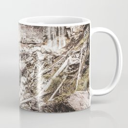Rock Land Waterfall // Dull High Contrast Gray Tone Wilderness Photograph Coffee Mug