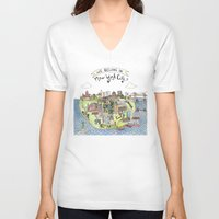 new york city V-neck T-shirts featuring New York City Love by Brooke Weeber