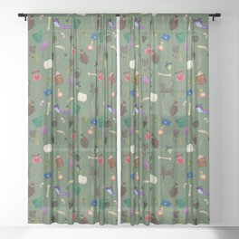 Assorted Witchery Repeating Pattern Green Sheer Curtain