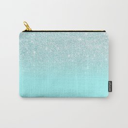 Elegant Chic Mint Blue Gradient Glitter Carry-All Pouch
