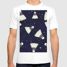 Space Shuttlecock White Mens Fitted Tee MEDIUM