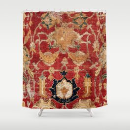 Indo Esfahan Central Persian Rug Fragment Print Shower Curtain