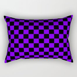 Black and Indigo Violet Checkerboard Rectangular Pillow