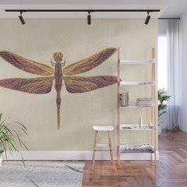 Art Nouveau Dragonfly In Purple Wall Mural