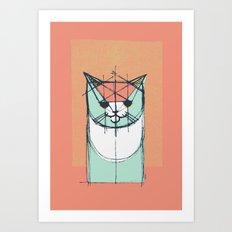 Cubist Cat Study #8 by Friztin Art Print