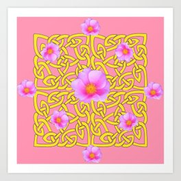 Decorative Yellow Celtic Pattern Pink-Coral  Rose Art Art Print