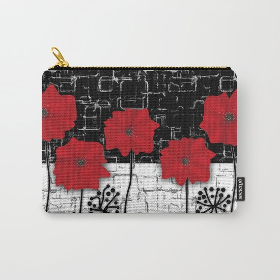 Applique Poppies on black and white background . Carry-All Pouch