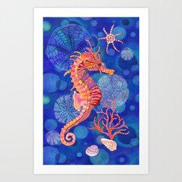 Seahorse in the Deep Blue Art Print