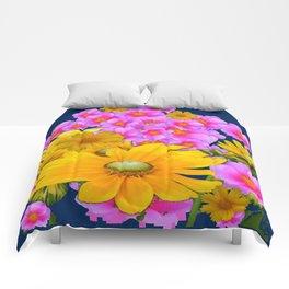 BLUE COLOR PINK-YELLOW FLOWER GARDEN ART Comforters