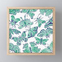 Butterfly Pattern Green Navy White Framed Mini Art Print