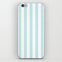 Duck Egg Pale Aqua Blue and White Wide Vertical Beach Hut Stripe iPhone Skin