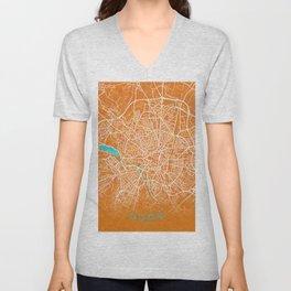 Dijon, France, Gold, Blue, City, Map Unisex V-Neck