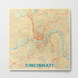 Cincinnati Map Retro Metal Print