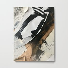 Stay | Collage Series 2 | mixed-media piece in gold, black and white + book pages Metal Print