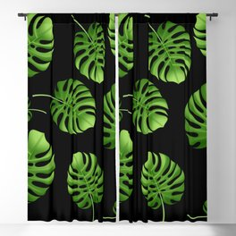 Black Tropical leaves Blackout Curtain