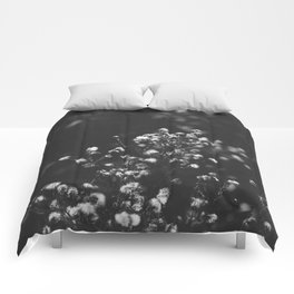Black and white grass Comforters