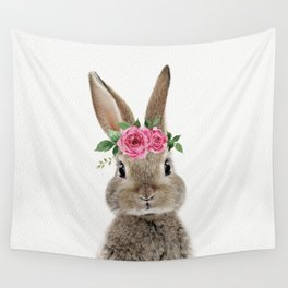 Bunny with Flower Crown Wall Tapestry