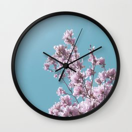 SPRING MAGNOLIA FLOWER TREE, pink on turquoise Wall Clock