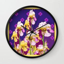 Iris Garden In Shades Of Purple Wall Clock
