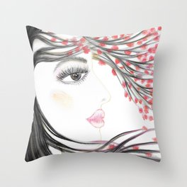 Sakura Face Throw Pillow