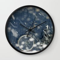 cycling Wall Clocks featuring Snow Cycling by Art de L'aube