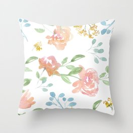 Mustard Floral Pattern Throw Pillow