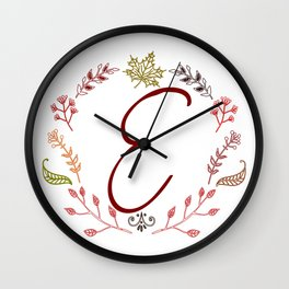 Floral E letter Wall Clock