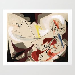 Cello and Sxophne Player Musicians Painting Drawing Art Print