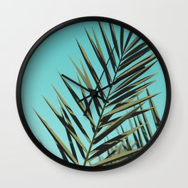 Turquoise Palm Leaves Wall Clock