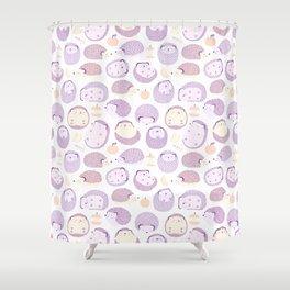 Happy Hedgies - Kawaii Hedgehog Doodle Shower Curtain
