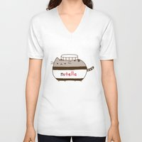 nutella V-neck T-shirts featuring Nutella Cat by Wis Marvin