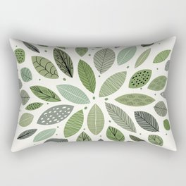 Mid-Century Green Leaves Rectangular Pillow