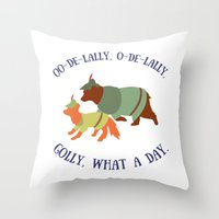 robin hood Throw Pillows featuring Robin Hood and Little John by Ellie Bockert Augsburger