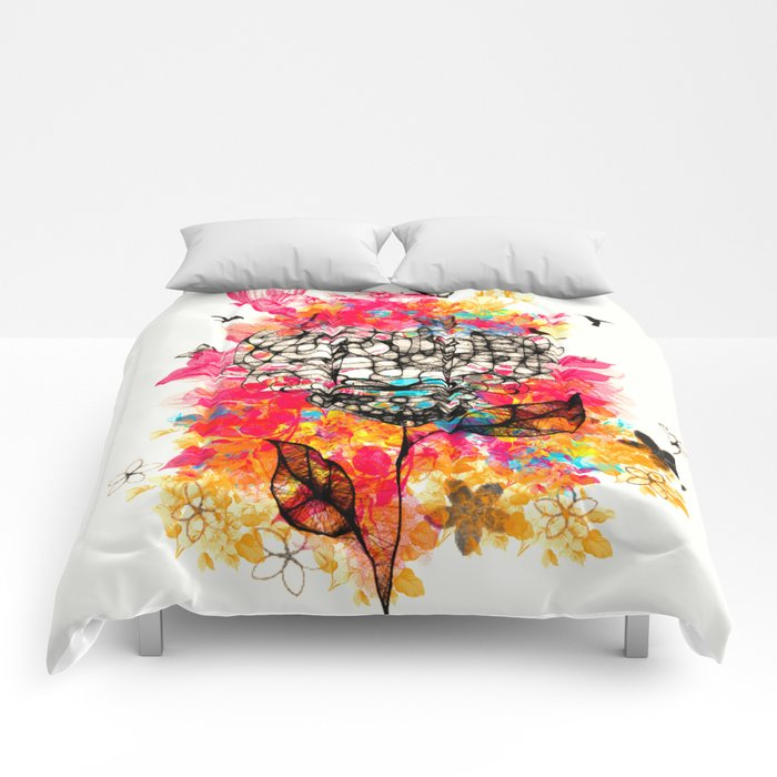 Abstract flower's face, colors Comforters