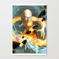 aang Canvas Prints featuring Aang by Quirkilicious