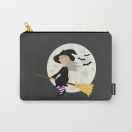 Cute Halloween Witch Girl Flying Cartoon Illustration Carry-All Pouch