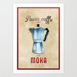 Cafe Poster: Coffee Break with Moka Art Print