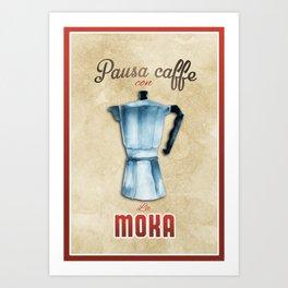 Cafe Poster: Coffee Break with Moka Art Print