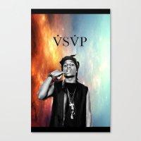 asap rocky Canvas Prints featuring Asap Rocky V.S.V.P by Christopher Leonetti