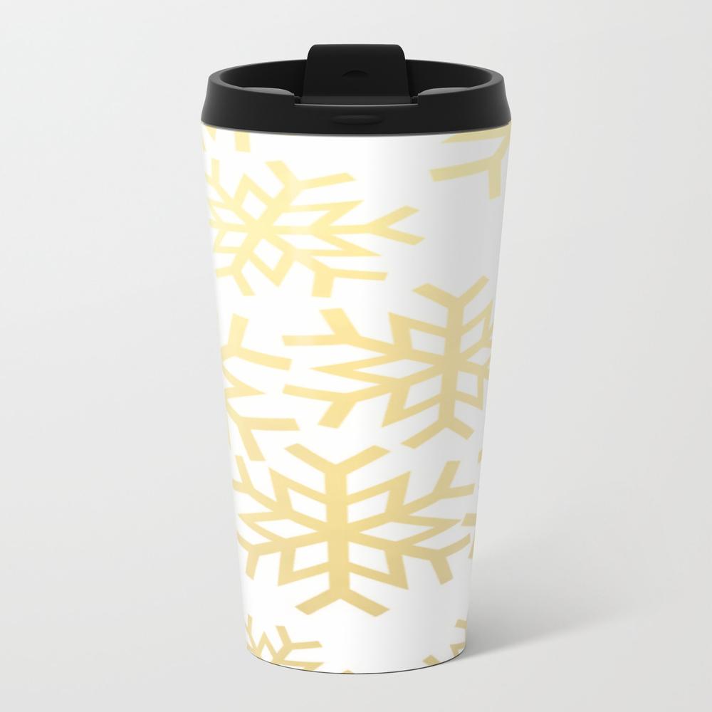 Gold Snowflakes Nature Print Winter Wonderland Bru… Metal Travel Mug by Thestylinghouse MTM8047150