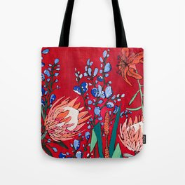 Red and Blue Floral with Peach Proteas Tote Bag