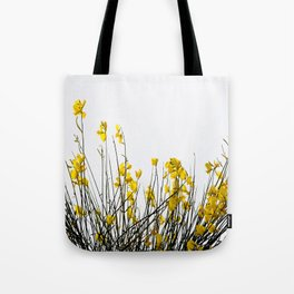 Minimal Garden -Yellow Version - Black Stems with Yellow Petals On White #decor #society6 #buyart Tote Bag